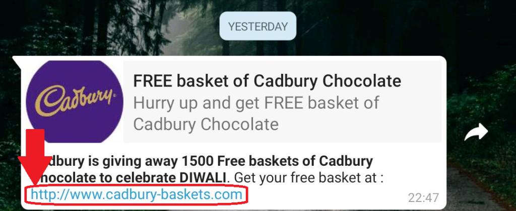Free Basket of Cadbury Chocolates
