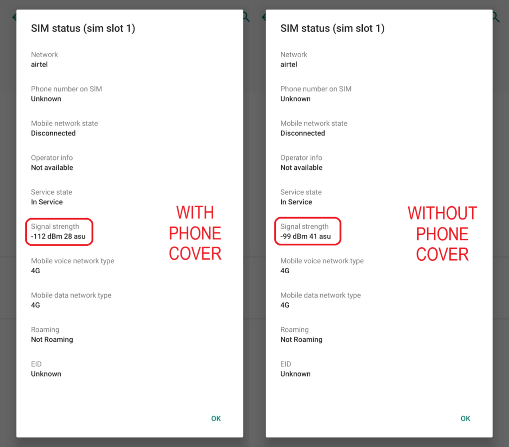 Airtel Phone Signal With and without phone camera
