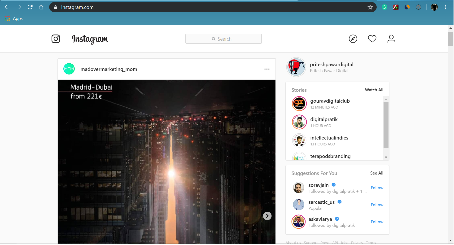 Log in to your Instagram account on Browser