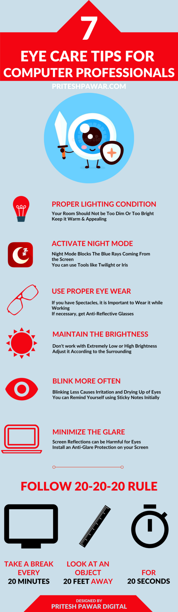 Eye Care Tips Infographic For Computer Professionals