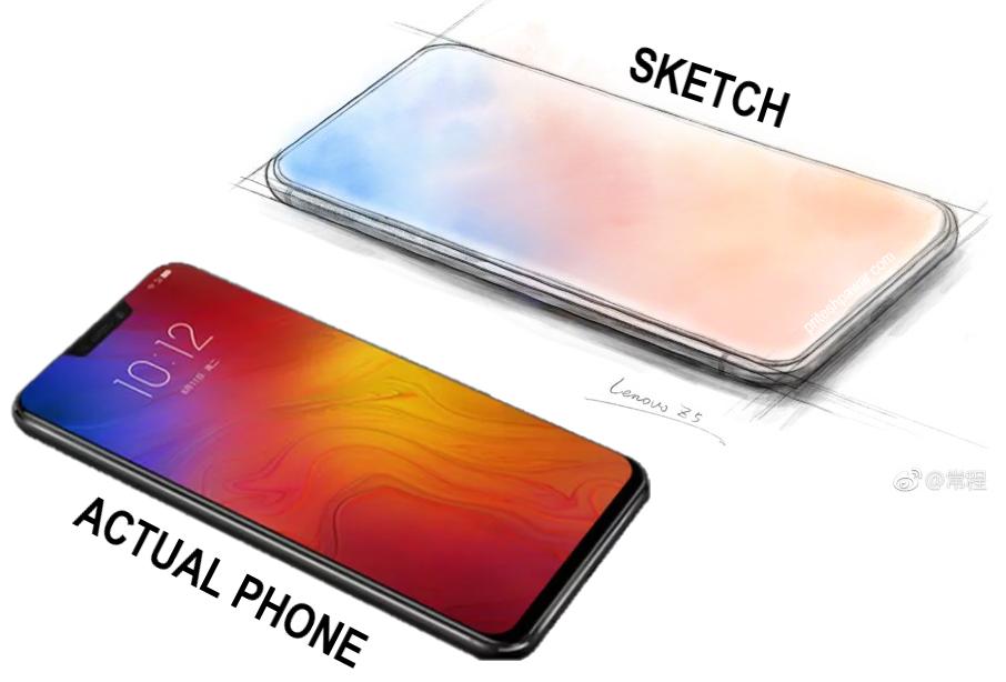 Lenovo Z5 Sketch vs Actual Smartphone